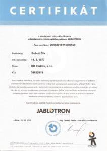 certifikát Jablotron BM Eleketro - riadenie vykurovania