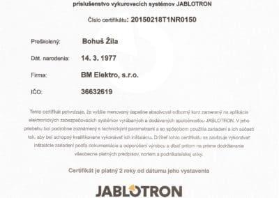 certifikát Jablotron - riadenie vykurovania