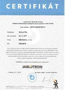 certifikát Jablotron BM Elektro - zabezpečovačka