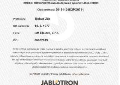certifikát Jablotron - zabezpečovačka