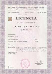 licencia technickej služby BM Elektro - zabezpečovačka