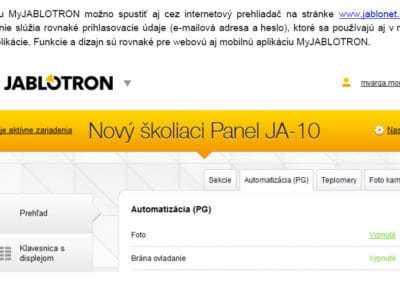 Otváranie-zatváranie garáže pomocou mobilnej a webovej aplikácie MyJABLOTRON 2