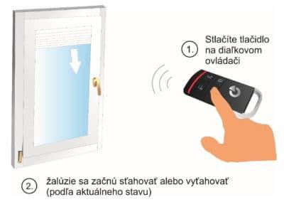 Sťahovanie a vyťahovanie žalúzií pomocou diaľkového ovládača alarmu