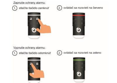 Zapnutie ochrany alarmu dialkovým ovládačom