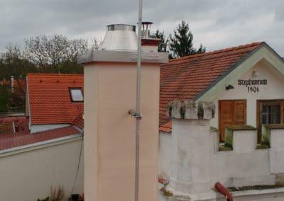 ochrana pred bleskom -Uchytenie jímacej tyče na komíne