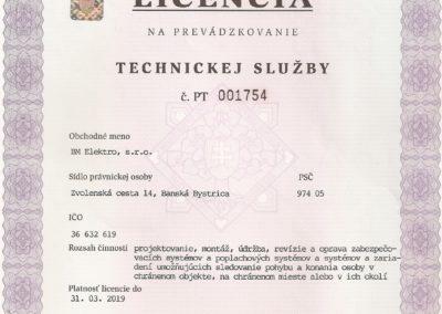 licencia technickej služby BM - zabezpečovačka, kamery