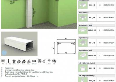 Elektroinštalačná lišta hranatá LH 60x40 kopos