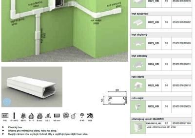 Elektroinštalačná lišta hranatá LHD 20x10 kopos