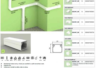 Bezhalogenová elektroinštalačná lišta hranatá LHD 20x20 kopos