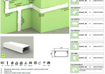Bezhalogenová elektroinštalačná lišta hranatá LHD 40x20 kopos