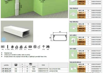 Elektroinštalačná lišta hranatá LHD 40x20 kopos