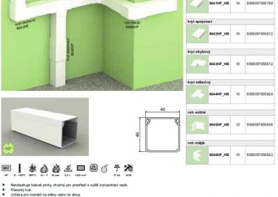 Bezhalogenová elektroinštalačná lišta hranatá LHD 40x40 kopos