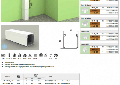 Elektroinštalačná lišta hranatá LHD 40x40 kopos