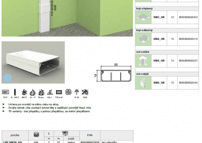 Elektroinštalačná lišta hranatá LHD 50x20 kopos