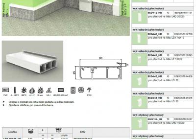 Elektroinštalačná lišta podlahová kobercová LPK 80x25 kopos