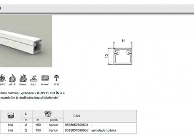 elektroinštalačná lišta LV 11x10 kopos