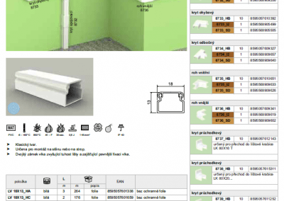 elektroinštalačná lišta LV 18x13 kopos
