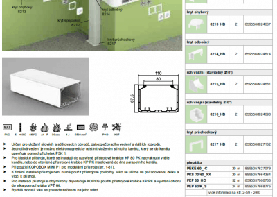 Parapetný elektroinštalačný kanál PK 90x55 kopos