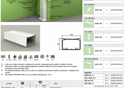 Parapetný elektroinštalačný kanál PK 110x70 kopos