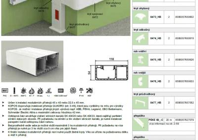 Parapetný elektroinštalačný kanál PK 120x55 kopos