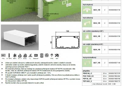 Parapetný elektroinštalačný kanál PK 130x65 kopos