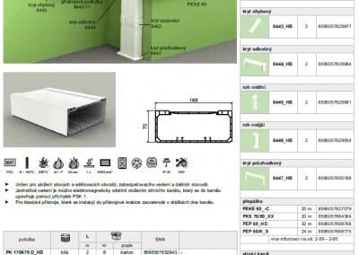 Parapetný elektroinštalačný kanál PK 170x70 kopos