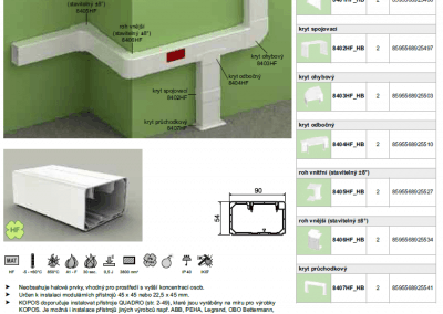 Bezhalogenový elektroinštalačný kanál PK 90x55 kopos