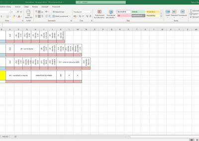Popis jednotlivých ističov robíme taktiež v programe Excel.