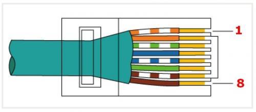 Zapojenie konektora RJ45 typ A